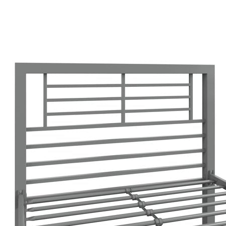 YourZone Kids' Metal Platform Bed, Silver, Twin