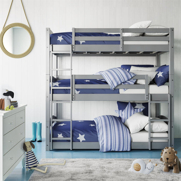 Better Homes & Gardens Tristan Triple Bunk Bed, Gray