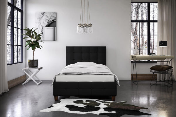 DHP Rose Upholstered Bed, Black Linen, King