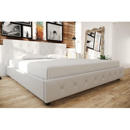 Faux Leather Platform Bed , White - King