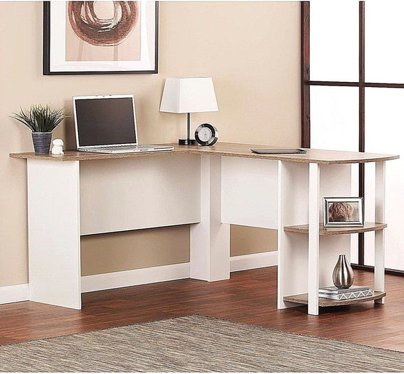 Dakota L-Shaped Desk with Bookshelves, White