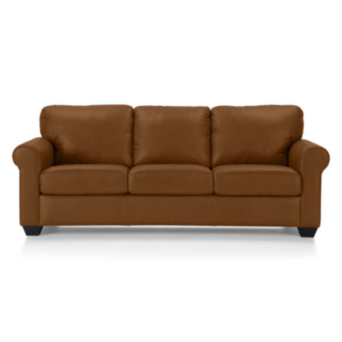 Leather Possibilities Roll-Arm Queen Sleeper Sofa