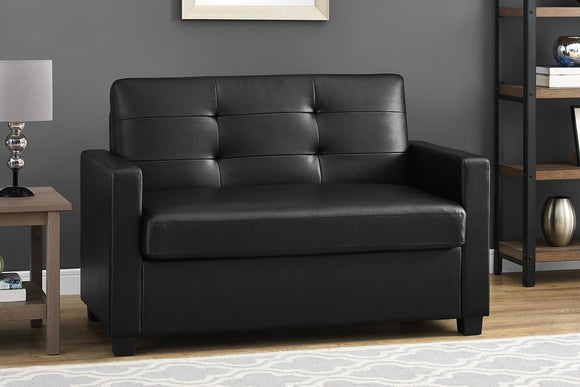 Mainstays Loveseat Sleeper Sofa, Twin, Black Faux Leather