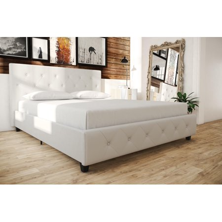 Faux Leather Platform Bed , White - Queen