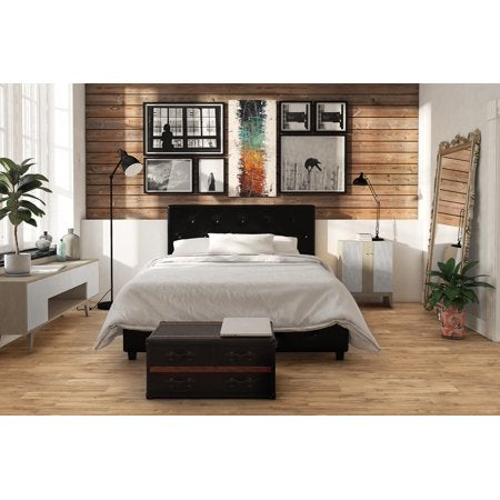 Faux Leather Platform Bed, Black - Full