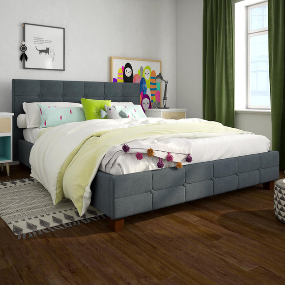 Better Homes & Gardens Porter Upholstered Platform Bed,Full,Gray Linen