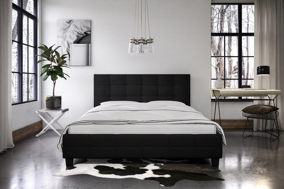 DHP Rose Upholstered Bed, Black Linen, Full