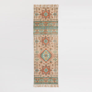 Green Persian Style Cotton And Jute Mesa Floor Runner