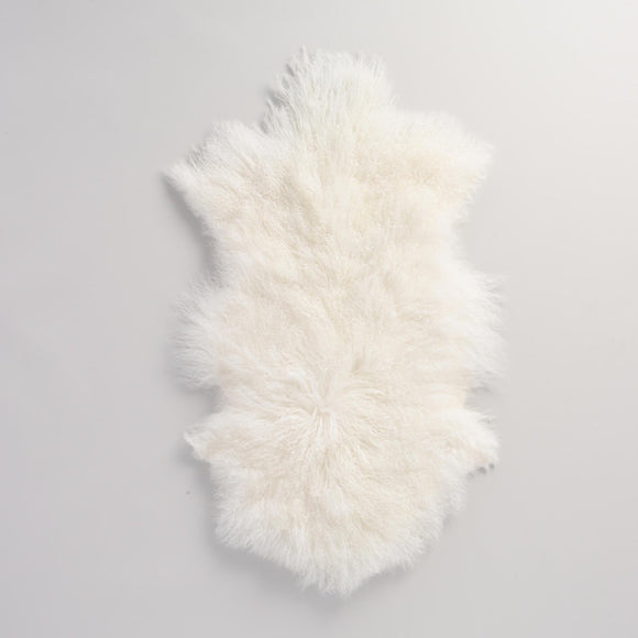 White Mongolian Sheepskin Area Rug