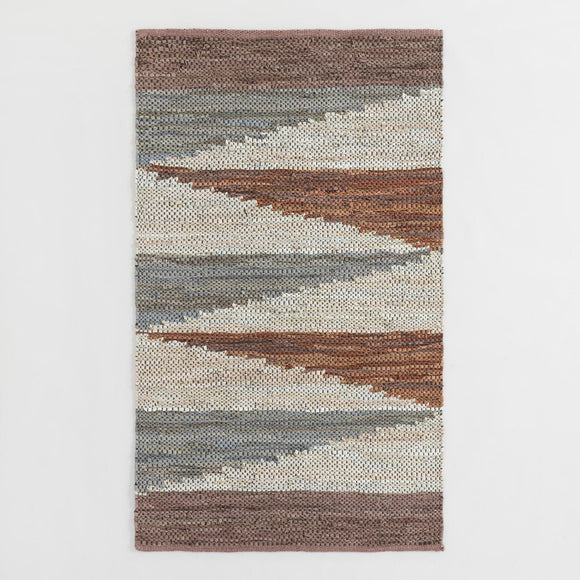 Multicolor Zigzag Cotton And Leather Chindi Area Rug