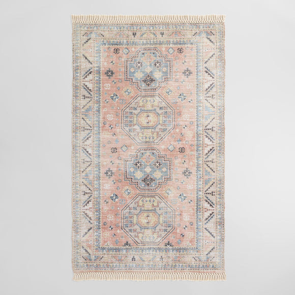 Peach And Blue Persian Style Chenille Oasis Area Rug