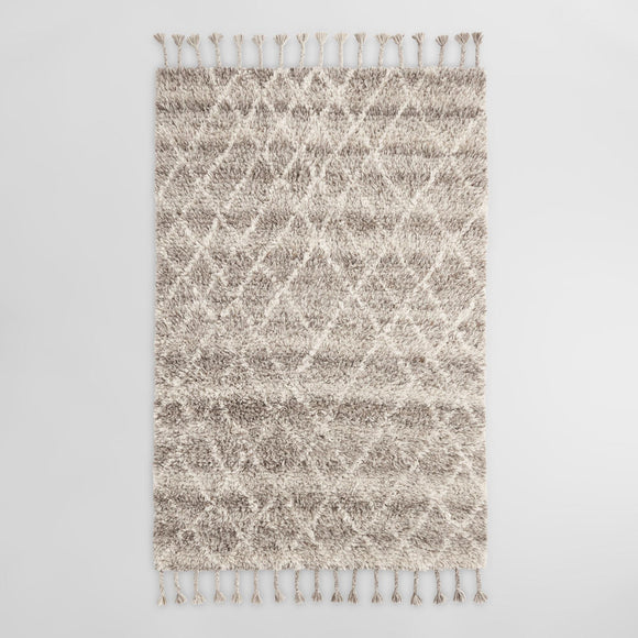 Brown Diamond Moroccan Style Wool Shag Sahara Area Rug