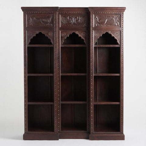 Brown Carved Wood Peacock Bookshelf