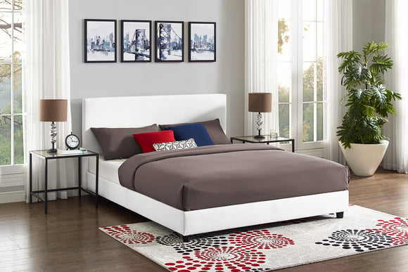 Mainstays Upholstered Bed, White Faux Leather, Queen