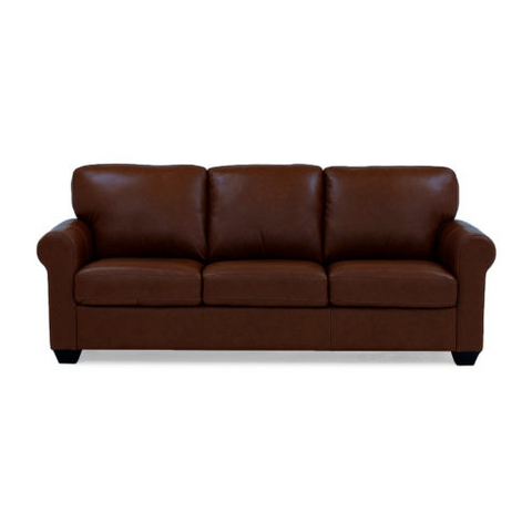 Leather Possibilities Quick Ship Roll-Arm Sofa | Vintage Mocha