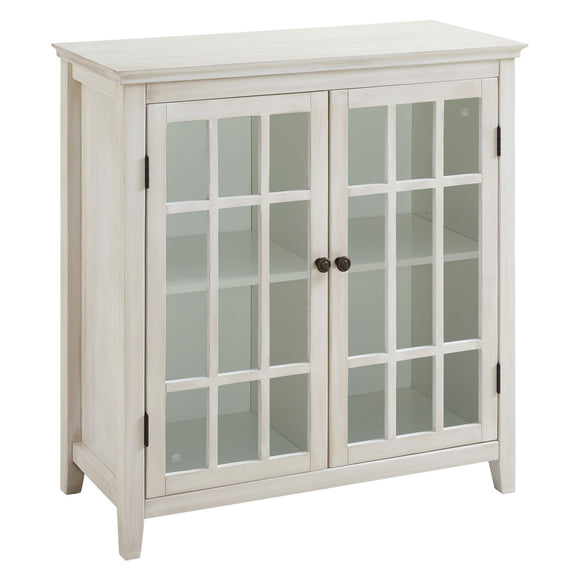 Linon Home Decor Largo Antique Double Door Cabinet - White Color