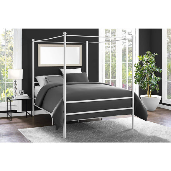 Metal Canopy Bed, White - Queen