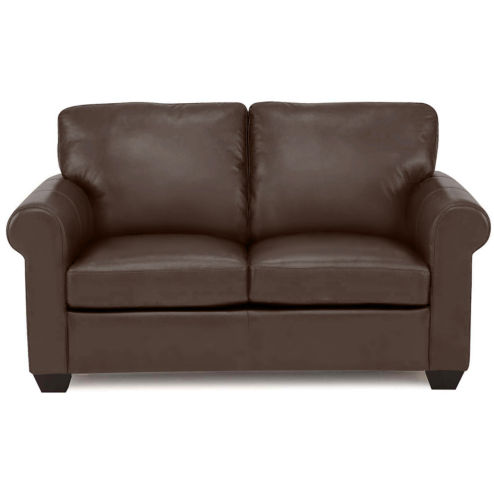 Leather Possibilities Roll-Arm Loveseat | Toffee