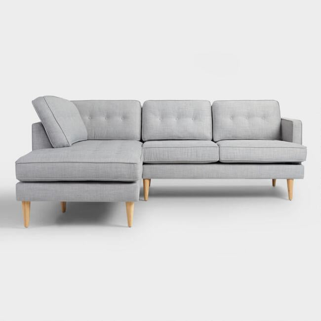 Dove Gray Woven Apel Sectional Sofa With Chaise Twigs Direct