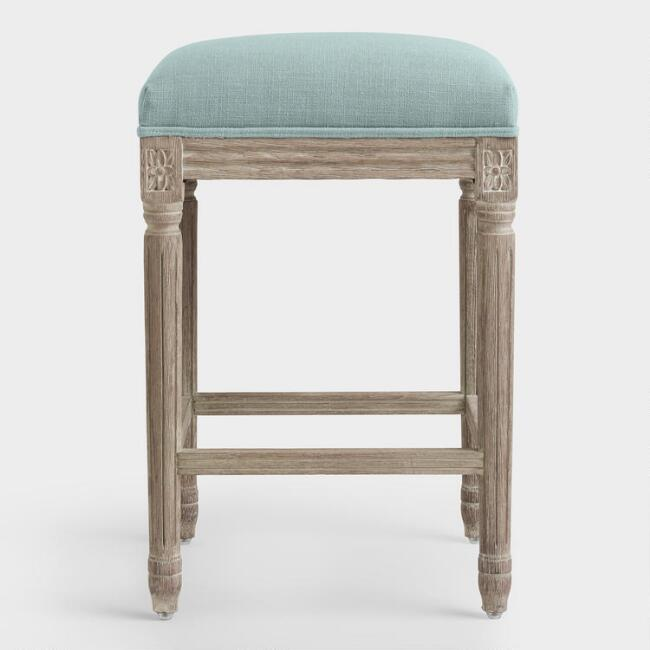Awe Inspiring Blue Linen Paige Backless Counter Stool Pabps2019 Chair Design Images Pabps2019Com