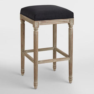 Black Paige Backless Barstool