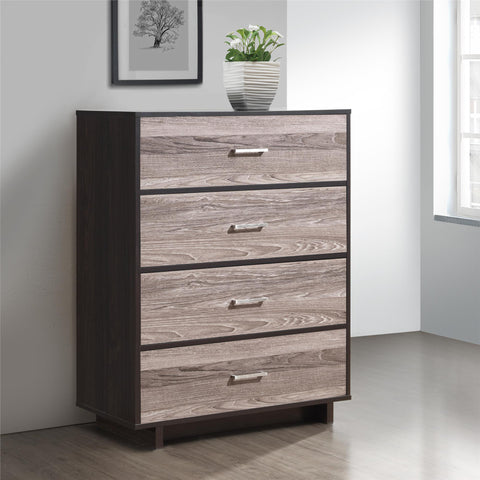 Ameriwood Home Colebrook 4 Drawer Dresser - Weathered Oak/Espresso