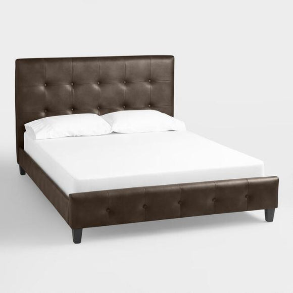 Sable Bi-Cast Leather Greir Upholstered Bed - Queen Size
