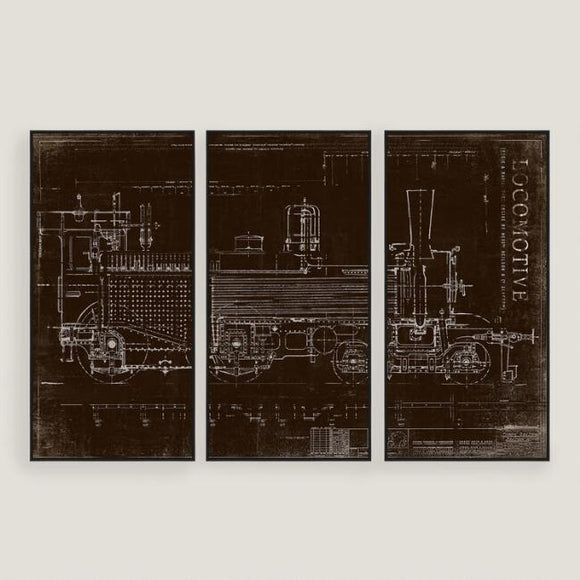 Locomotive Train Sketch Wall Art 3 Piece