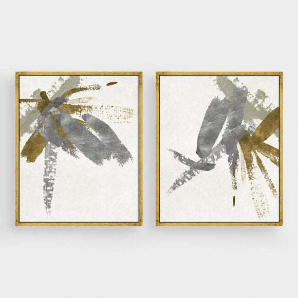Silver & Gold Brushstroke Canvas Wall Art Gold Leaf Set Of 2