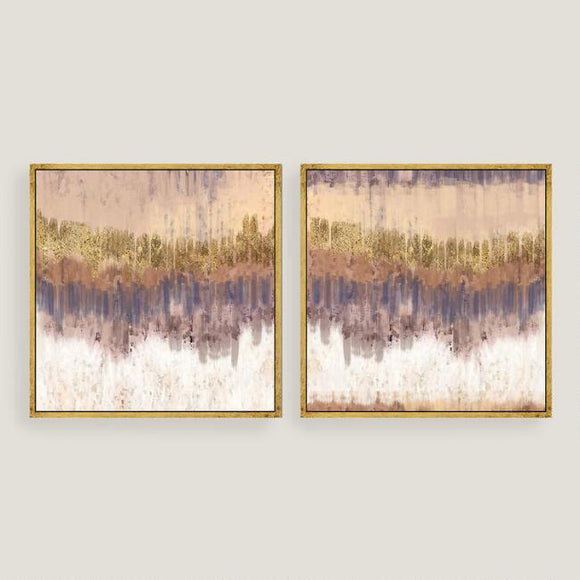 Golden Field Abstract Canvas Wall Art Gold Leaf Set Of 2