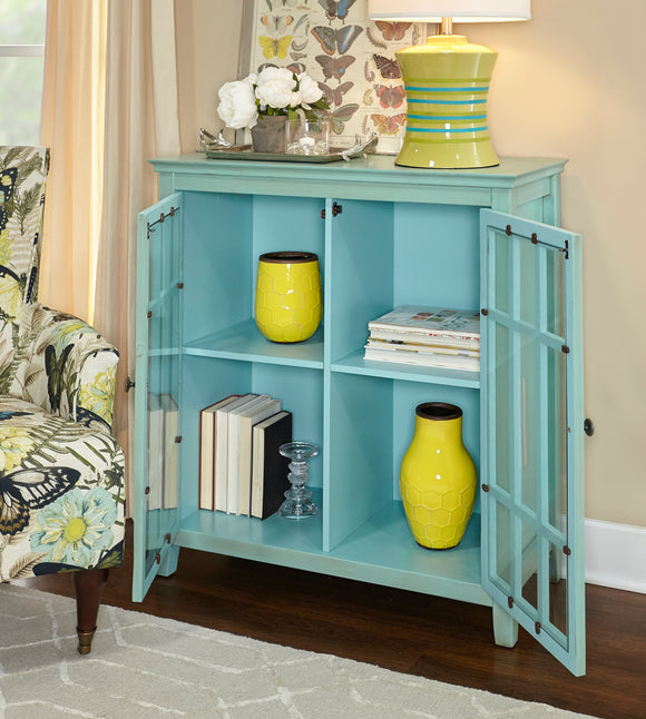 Linon Home Decor Largo Antique Double Door Cabinet - Turquoise Color