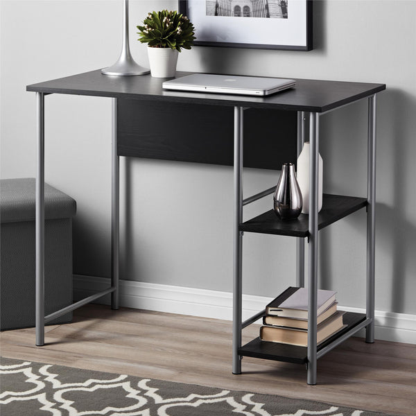 Ameriwood office Desk with 2 side Shelves - Black Oak