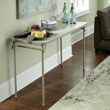 Vinyl Top Folding Table, Antique Linen