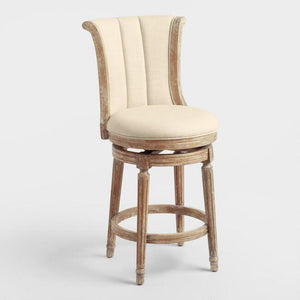 Natural Linen Channel Back Swivel Counter Stool