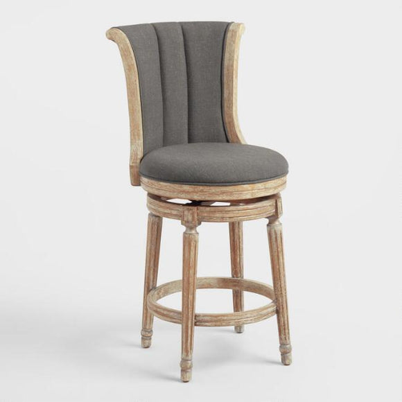Charcoal Linen Channel Back Swivel Counter Stool
