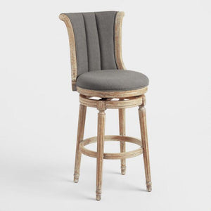 Charcoal Linen Channel Back Swivel Barstool