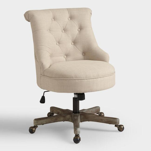 Warm Ivory Elsie Upholstered Office Chair