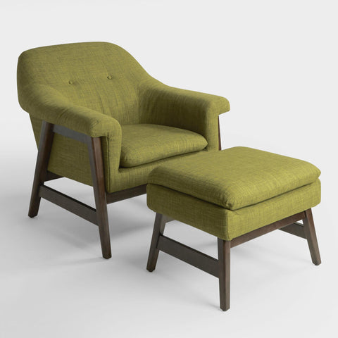 Green Bret Upholstered Chair And Ottoman Set