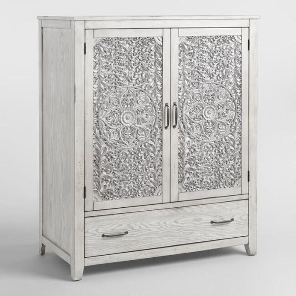 Gray Mahogany Wood Verena Armoire