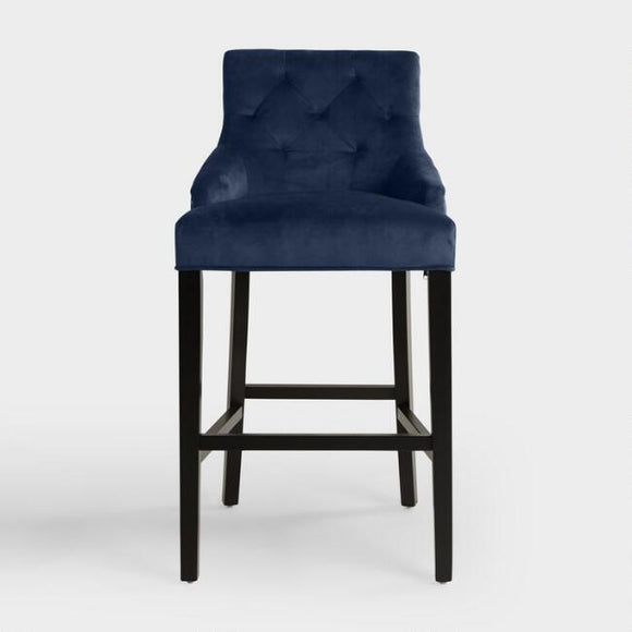 Ink Blue Tufted Lydia Upholstered Barstool