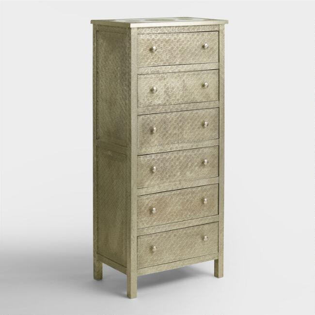 Embossed Metal Kiran Tall Dresser