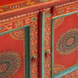 Red Floral Painted Wood Cabinet