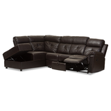 Sectional with Recliner and Storage Sofa- Dark Brown - Baxton Studio