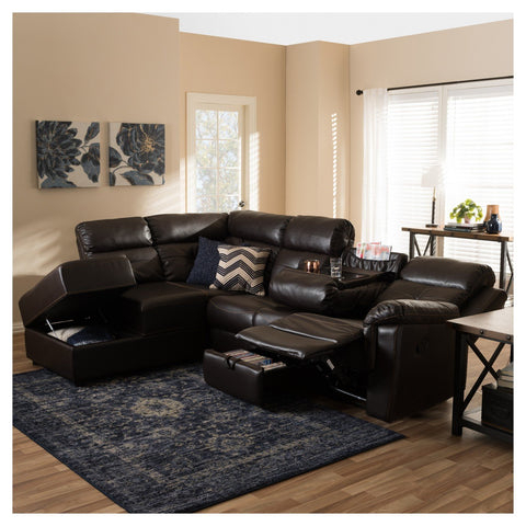 Sectional with Recliner and Storage Chaise
