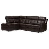Roland Modern and Contemporary Faux Leather 2 - Piece Sectional with Recliner and Storage Chaise - Dark Brown - Baxton Studio