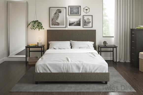 Mainstays Upholstered Bed, Grey Linen - Full