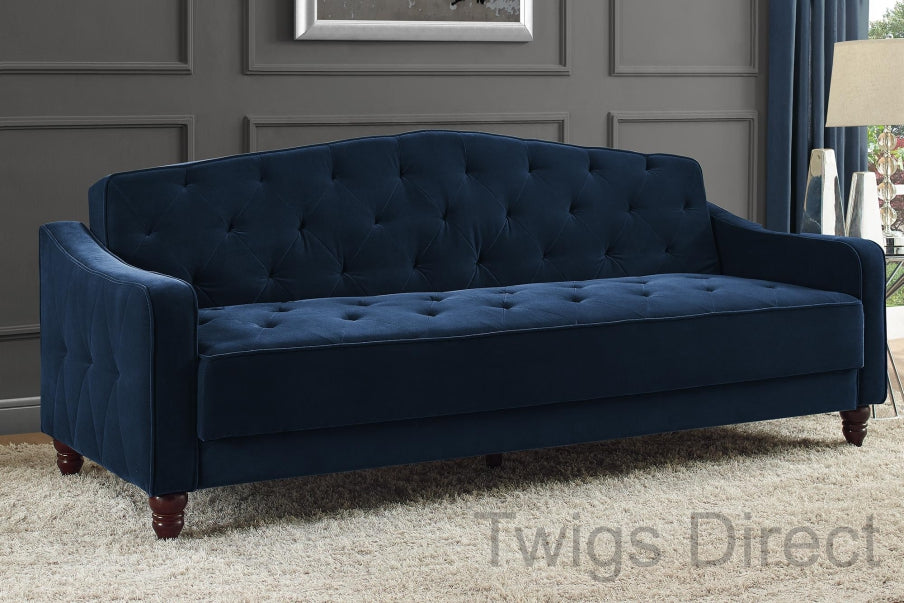Incredible Novogratz Vintage Tufted Sofa Sleeper Blue Caraccident5 Cool Chair Designs And Ideas Caraccident5Info