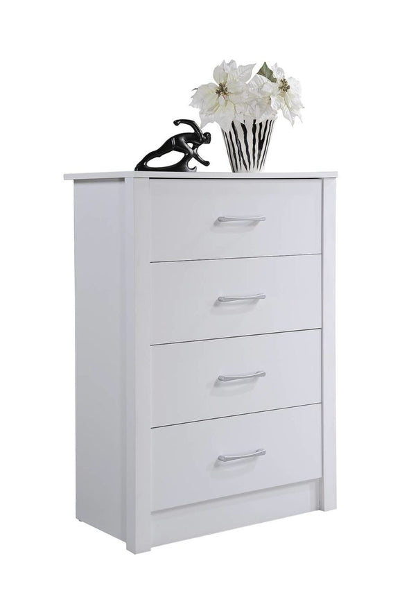 Hodedah Imports Wooden 4 Drawer Chest - White