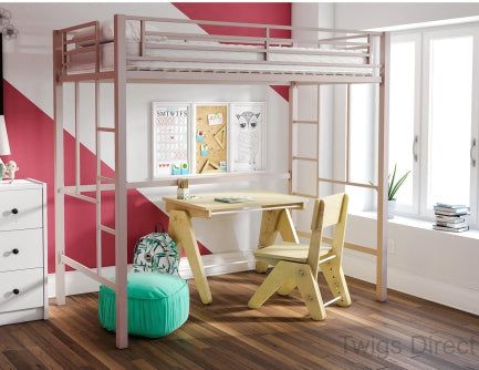 YourZone Metal Loft Bed, Twin Size