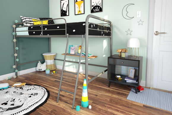 DHP Junior Metal Loft Bed, Twin Size, Silver
